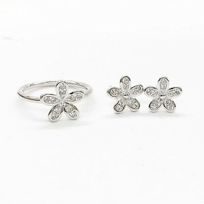 Flower Daisy Stud Earrings And Ring Set Size 8 Q Genuine 925 Silver Xmas Gift