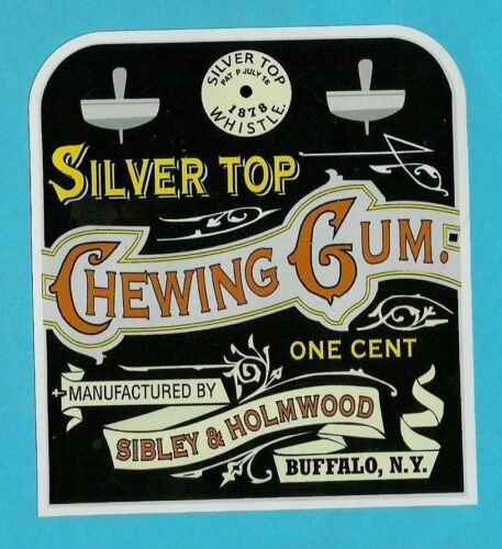 "/""SILVER TOP/"" CHEWING GUM VINYL STICKER DECAL BUBBLE BALL MACHINE RETRO VINTAGE"
