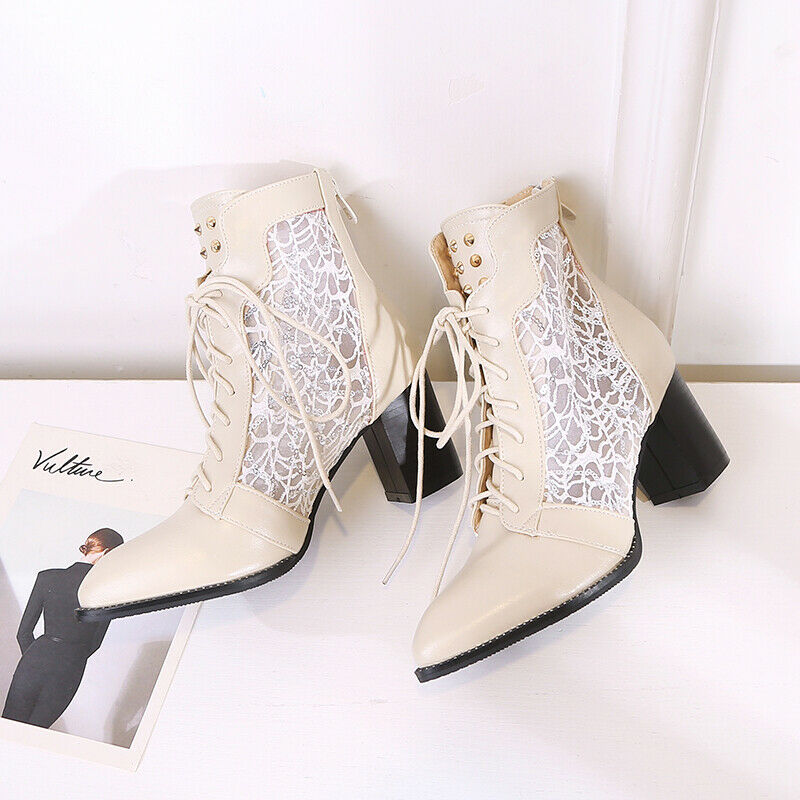 Fashion Mesh Boots Womens Summer Spring Ankle Boots Shoes Pointed Toe Plus Size