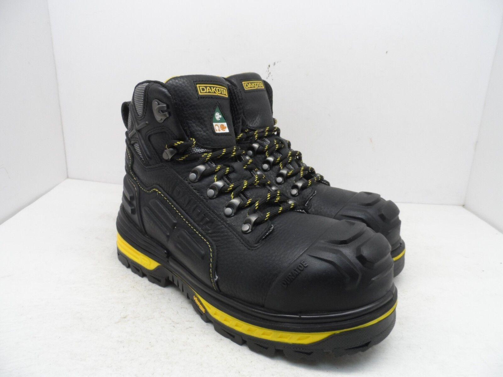 DAKOTA para hombres 6  Ctcp Vibram Arctic Grip Pro botas De Trabajo Negro amarillo Tamaño 9M