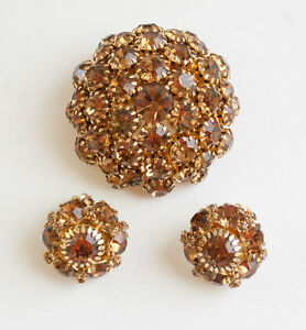 Topaz-Rhinestone-Dome-Pin-and-Clip-on-Earring-Set-Gold-tone-Warner