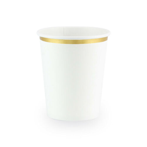 Pappbecher weiß Rand gold ca Einwegbecher Hochzeit Becher Taufe 250 ml 6 St