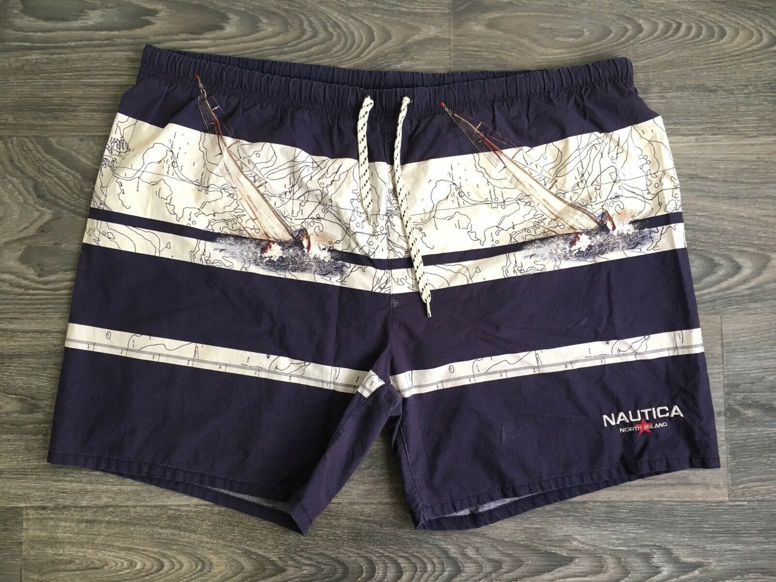 Nautica Swimming Trunks 90s Vtg Board Shorts Bathing Suit Spell Out Sail XL EUC