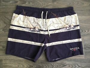 7003e782fc984 Nautica Swimming Trunks 90s Vtg Board Shorts Bathing Suit Spell Out ...