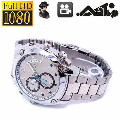 8GB 1080P SPY Hidden DV Night Vision Steel Wrist Watch Digital Video Camera  GS