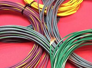 18 gauge AWG stranded primary wire 5' green / white USA Made *BEST IN QUALITY*
