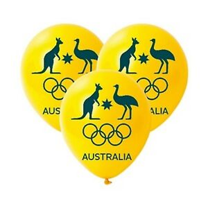 Australian-Olympic-Latex-Balloons-Pack-of-3-FLAT-Helium-Quality-Latex