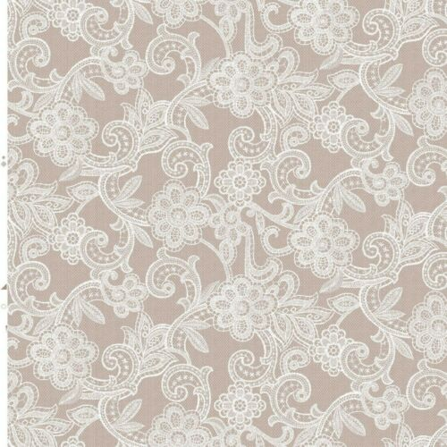 Bar Plain Beige Ground White Lace Effect Vinyl Pvc Wipeclean Tablecloth Cafe