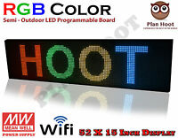 Led Sign 52x15 Rgb 7 Colour Semi-outdoor Programmable Scrolling Usb Wifi App