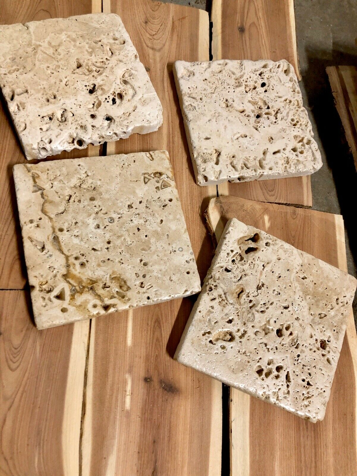 TC#7F FOUR NATURAL STONE ABSORBENT TUMBLED TRAVERTINE COASTERS FREE SHIPPING 4