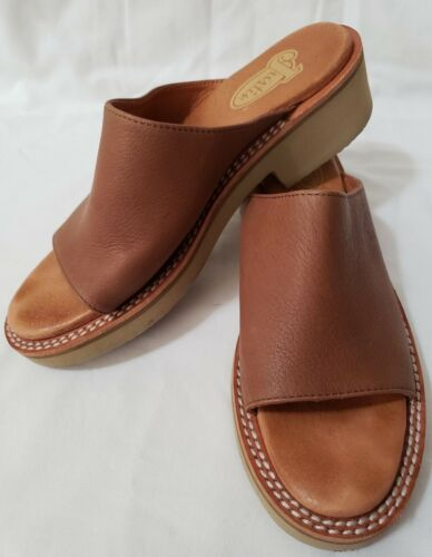 JUSTIN Size 6 1/2 Tan Brown Leather Slip On Open T