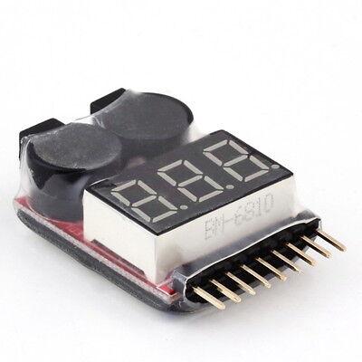 1-8S Lipo/Li-ion/Fe Battery Voltage 2IN1 Tester Low Voltage Buzzer Alarm LE