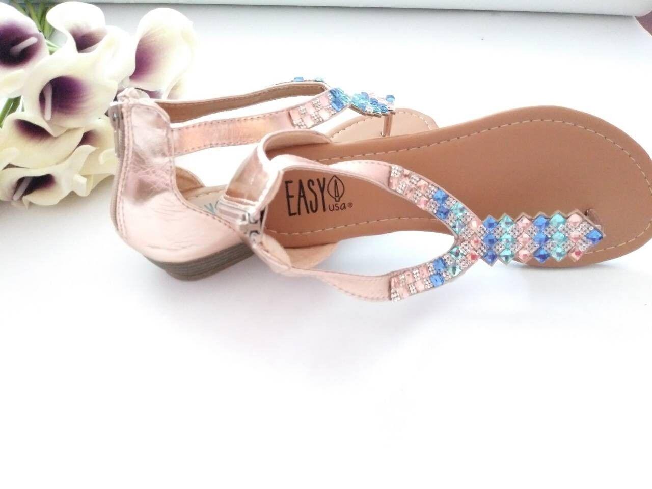Womens Sandals aqua *Size 6* Rose Gold with aqua Sandals marine stones **CUTE** 6cca69