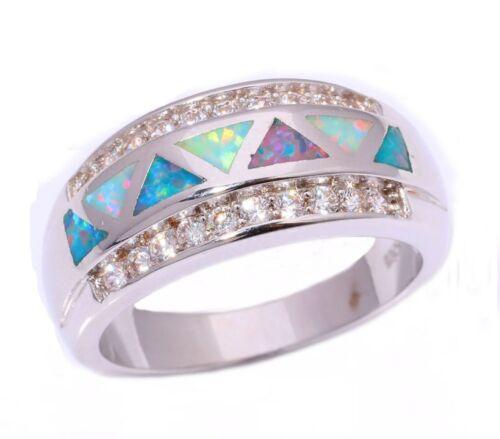 NEU Schicker Silber-Ring mit buntem Feuer-Opar und Zirkonia Gr 7//17 multicolor