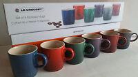 Le Creuset Set of 6 Espresso Mugs 100ML, Brand New In Original Box