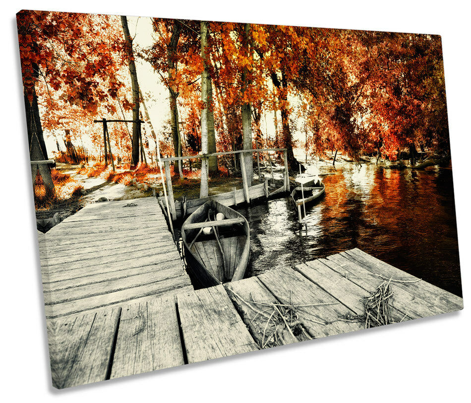 Blossom Floral Landscape Jetty SINGLE CANVAS WALL ART Framed Print