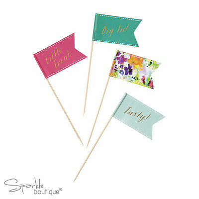 FLORAL FIESTA LARGE CANAPE FLAGS-Summer Garden Party/BBQ/Luau-FULL RANGE IN SHOP