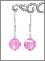 Sterling Silver Dangle Earrings W/cz Pink 65107