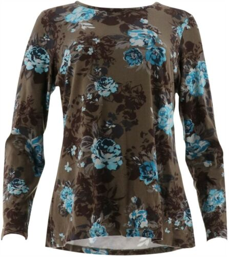 Denim Co Floral Print Long Slv Round Neck Top Dark Taupe XS NEW A296222
