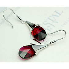 Ruby Red Austrian Crystal Angel Tear Teardrop Pear 925 Silver Dangle Earrings UK