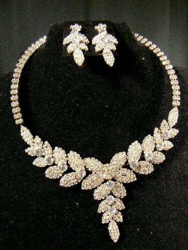 Stunning Wedding Bridal Rhinestone Necklace Earrin