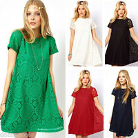 Womens Swing Chiffon Lace Short Sleeve One-Piece Shift Mini Dress Size S M L XL