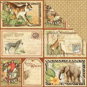 custom scrapbook paper set africa african safari zoo animals 12 x