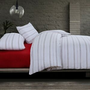 White Red Stripes Quilt Duvet Cover Queen Size With Pillowcases Cotton Blend