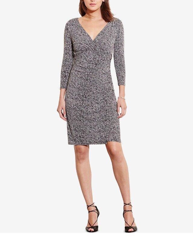 Lauren Ralph Lauren NEW schwarz Weiß Printed 2 Sheath Ruched Dress