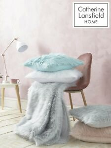 Catherine-Lansfield-Metallic-Fur-Throw-Or-Cushion-Cover-4-Colours-Available