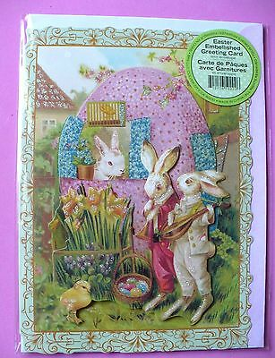 POOCH & SWEETHEART EASTER EMBELLISHED GREETING CARD 3 RABBITS NEW W/ ENVELOPE