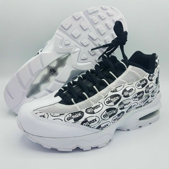 Size 5 Youth Nike Air Max 95 SE GS Logos 922173-102 Black & White Shoes