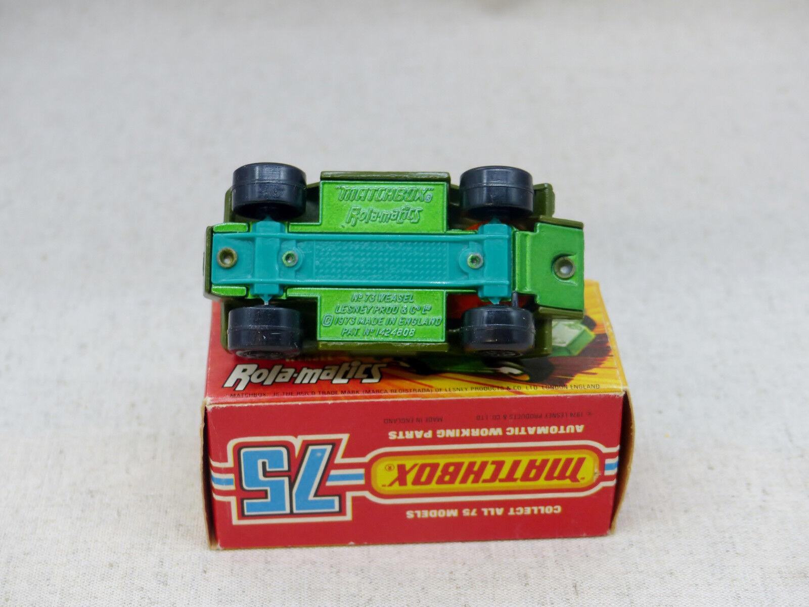 Matchbox Superfast 73 véhicule blindé militaire Weasel rare Near Mint boxed