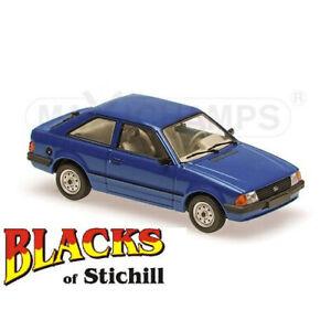 Maxichamps-1-43-Escala-Ford-Escort-Mk3-azul-de-3-puertas-y-1981-Diecast-Modelo-Coche