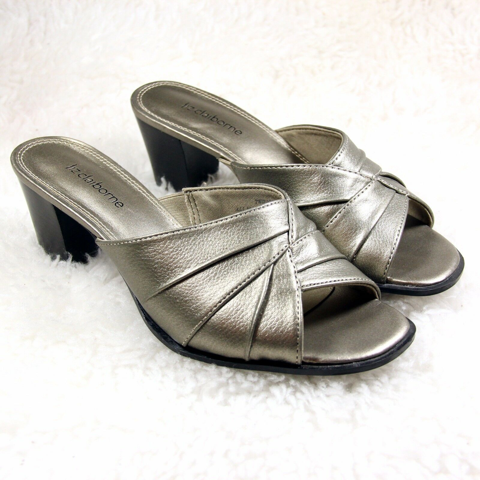 Liz Claiborne Twilight Womens Shoes Silver Heels Slip On Open Toe Heels Silver Pumps SZ 6M 4caf67
