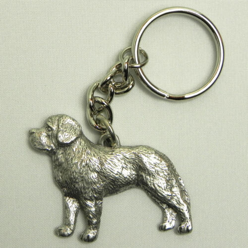 Saint Bernard Dog Keychain Keyring Harris Pewter Made USA Key Chain Ring