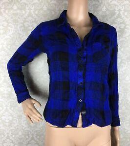 Rails-Hunter-Blue-Black-Plaid-Flannel-Shirt-Sz-Small-S