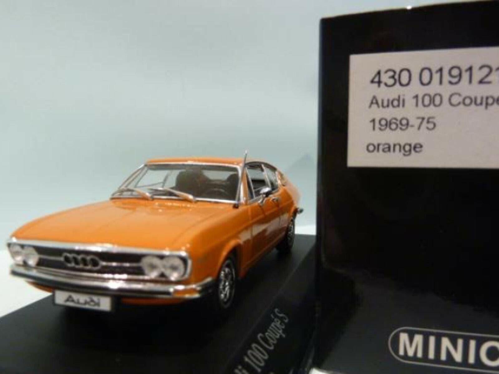 WOW EXTREMELY RARE Audi 100 C1 1.9L I4 Coupe S 1969 orange 1 43 Minichamps-50 80