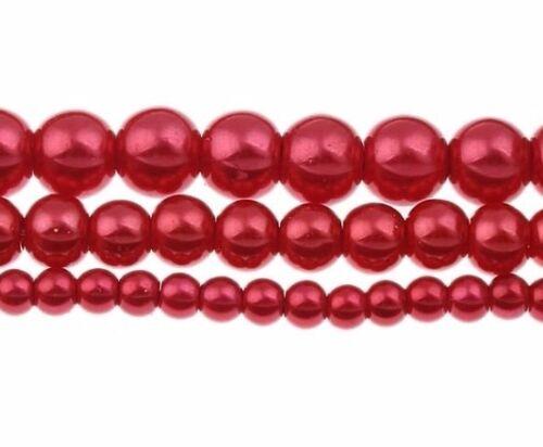 250 vidrio despierta perlas 3 hebras rojo perlas 4 6 8 mm bala joyas bastelset d29