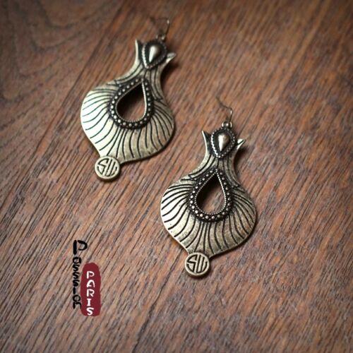 Boucles d/'Oreilles Art Deco Goutte Cœur Vintage Retro Style Original Cadeau DD 1