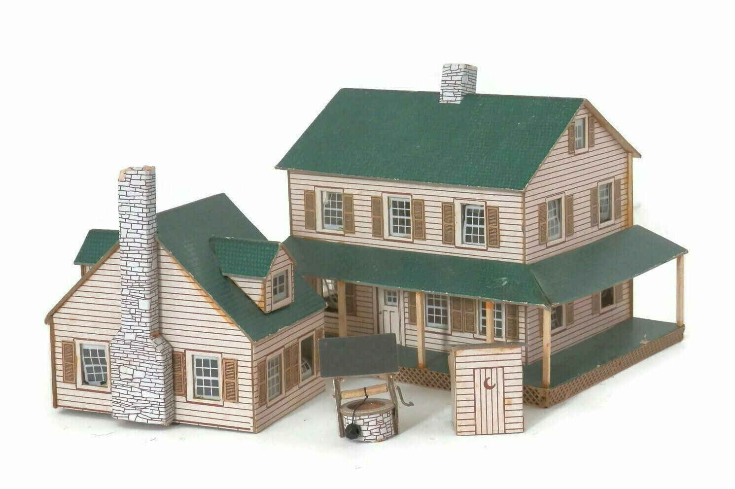 Miniature Farmhouse Playset Lithographed Paper Cardboard w Outhouse & Waterwell