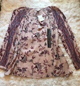 Floral top shirt Dames met Brand Lucky Boho boer L Paisley Nwt shirt B1ApxqZwZ