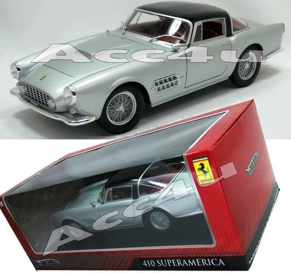 Hot Wheels Silver Ferrari 410 Super America 1:18 Diecast Model Car