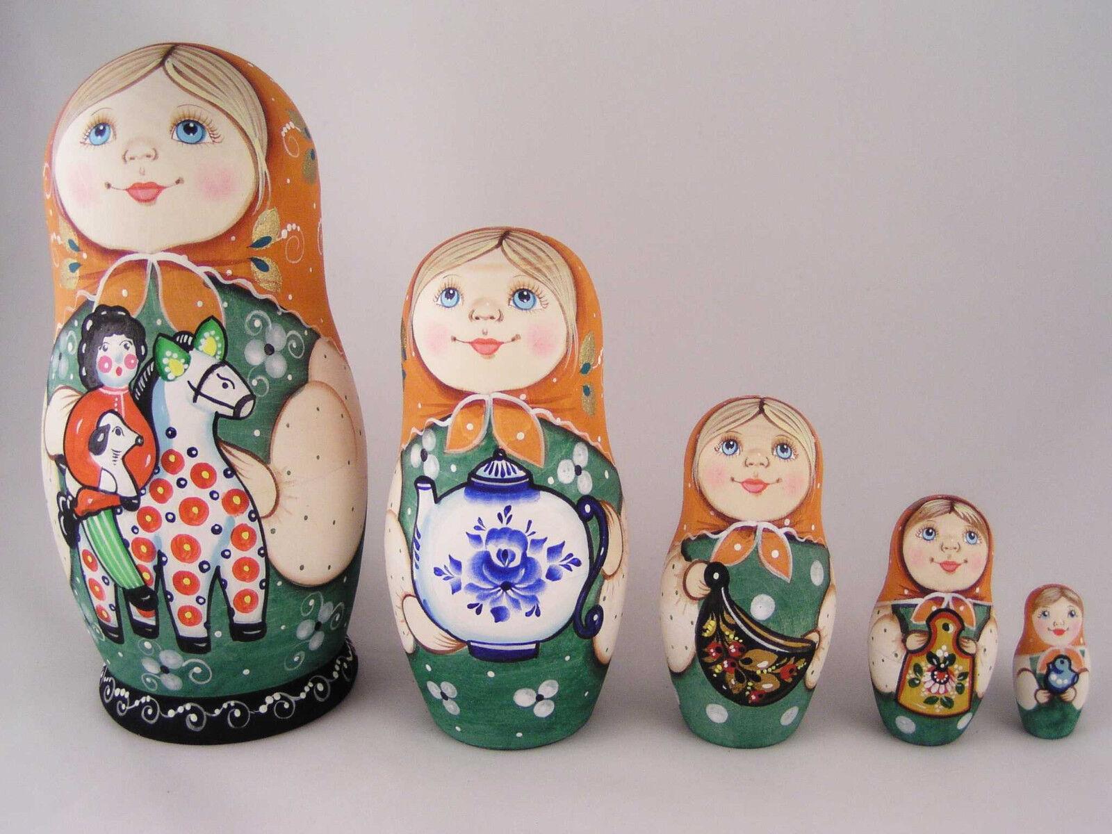 Rusa Matryoshka Babushka de madera de anidación de apilamiento Muñeca Niñas Juguetes 5 Piezas