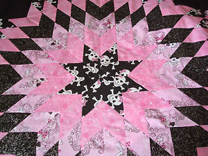 PINK-SKULLS-amp-PINK-BOWS-SPARKLES-Star-Quilt-Top-Quilt-Top-Only-Made-in-the-USA