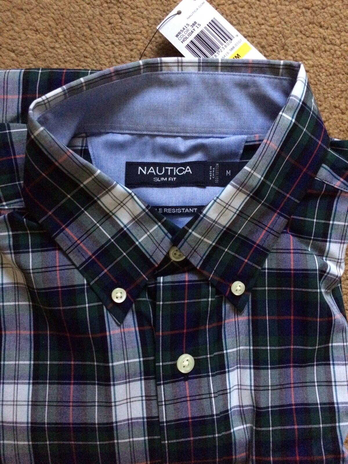 NAUTICA Wrinkle Resistant True Plaid Shirt, Slim Fit, Casual Formal, Size Medium