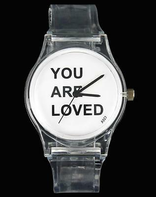 """"""" YOU ARE LOVED """" Women Men Transparent Love Novelty Adult Watch"""