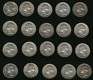Set-of-20-American-Washington-Silver-Quarters-Coins-1942-1956-1957-1958