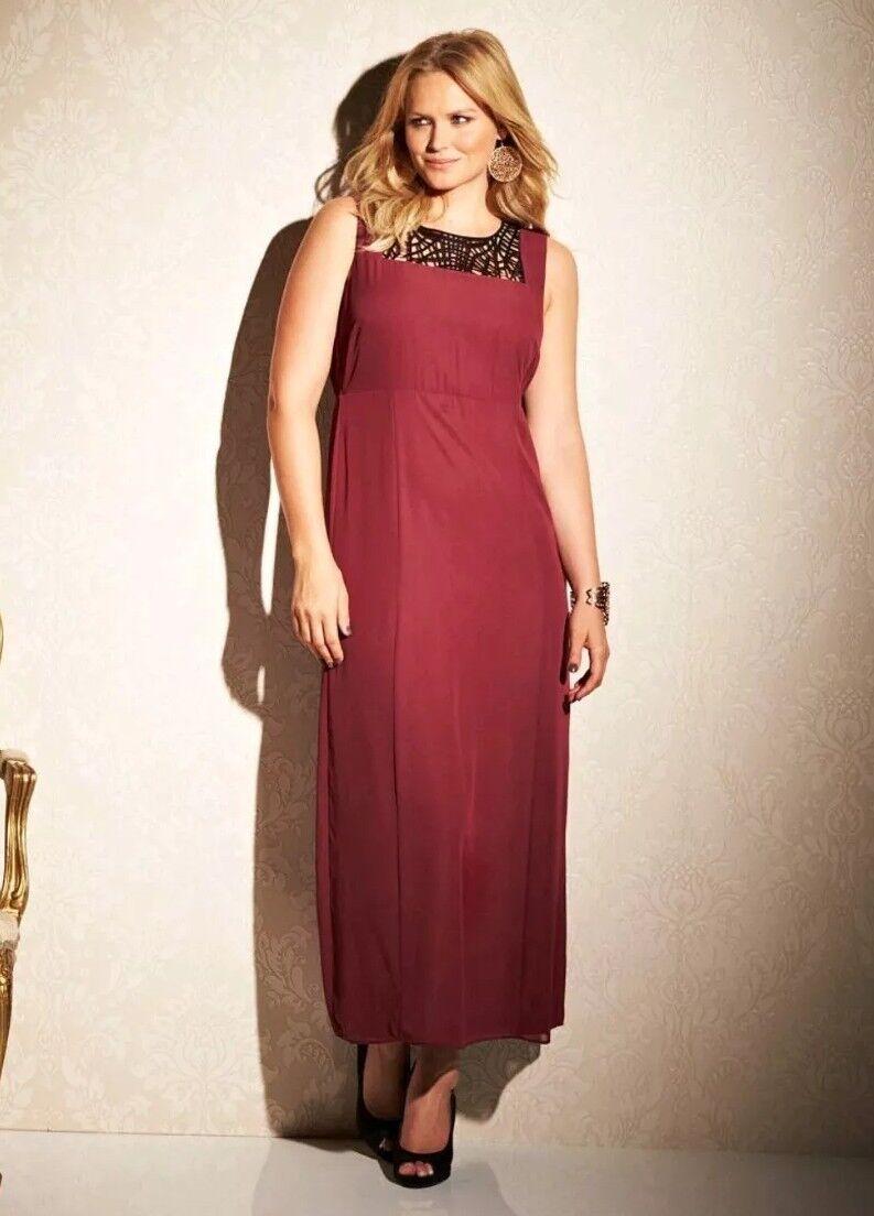 Marisota Cut Work Wine  Maxi Dress Plus Size 20