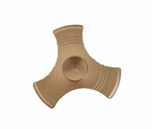 Gold Tri-Spin Metal Hand Spinner Fidget Finger Toy ADHD Stress Relief